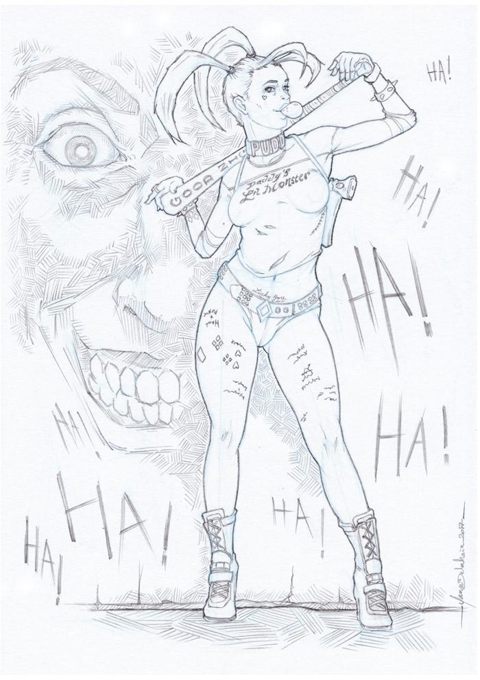 Harley quinn dessin crayon eacone yann delahaie - Le joker dessin ...