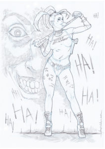 Harley Quinn Crayon A4 Eacone Illustrateur Pinup Cartoon