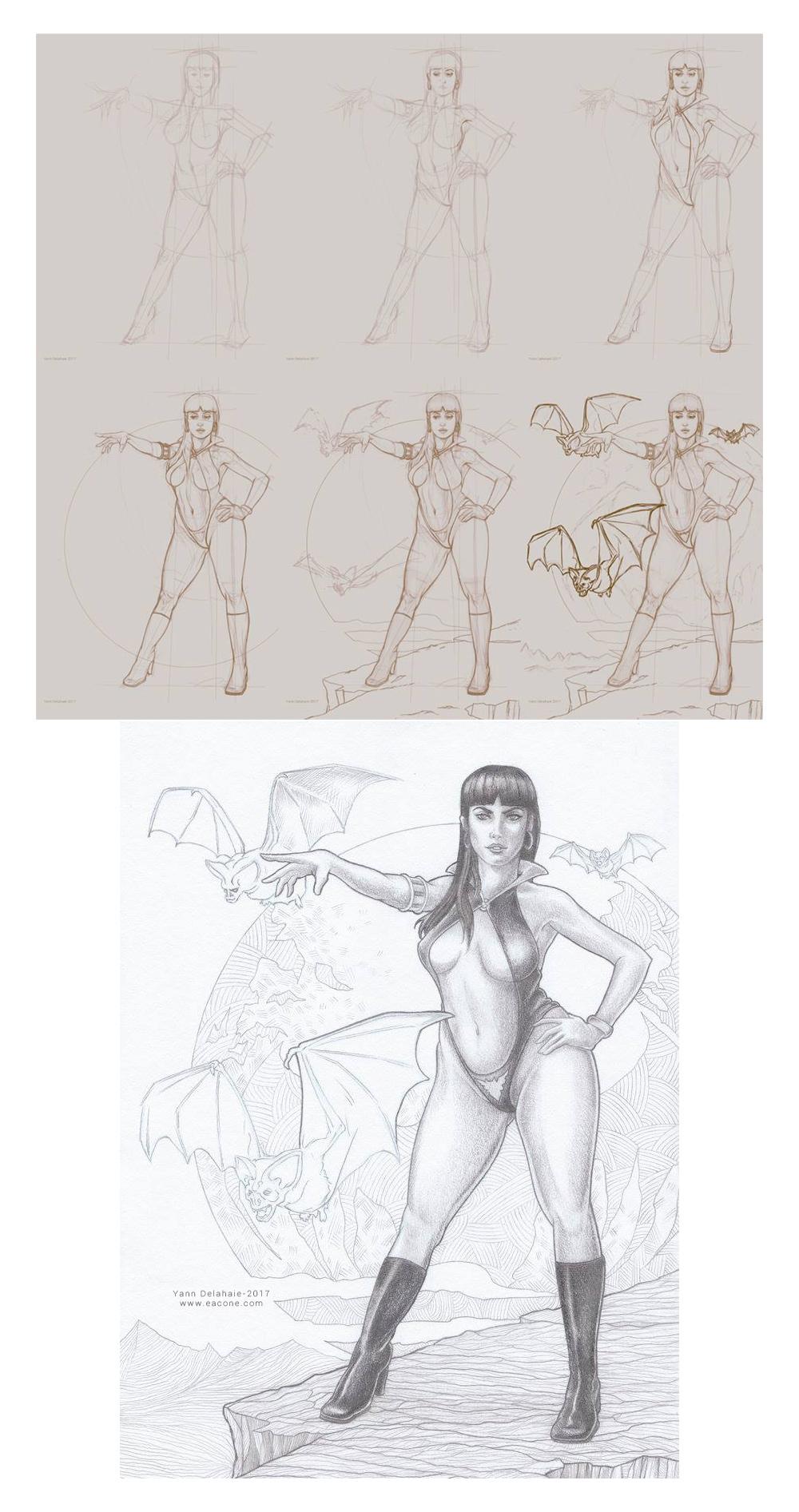 Vampirella Fanart Work in progress Yann Delahaie Illustrateur Eacone