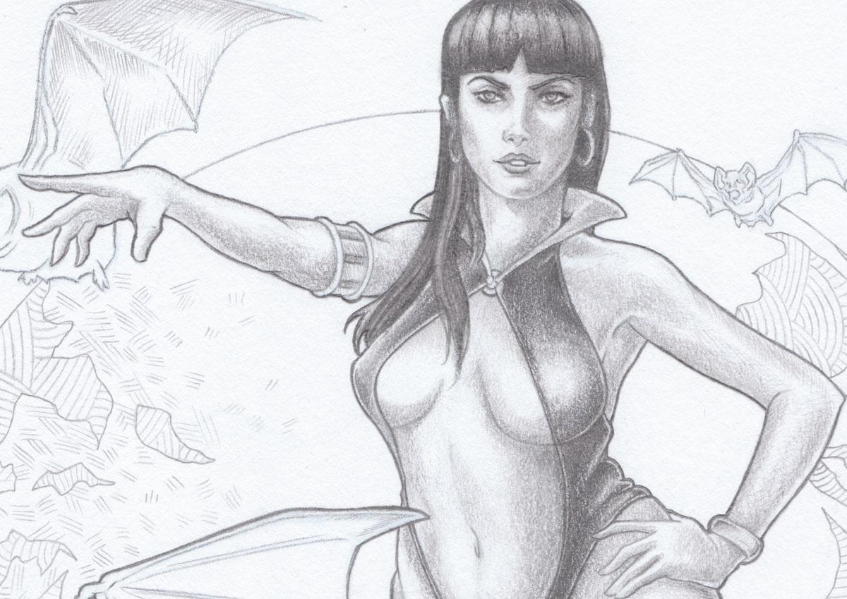 Vampirella_Dessin_zoom Illustration en cours Yann Delahaie