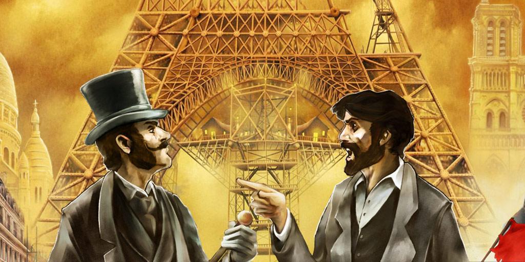 Paris1800 zoom sur la boite du jeu de société seconde édition Yann Delahaie illustrateur